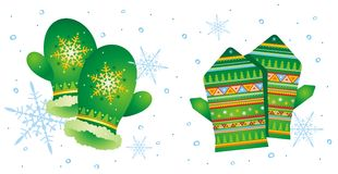 Two pair of mittens. Vector illustration with two pair of mittens Stock Image