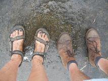 Muddy feet after a good hike royalty free stock photo