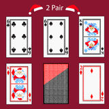 Two pair playing card poker combination.  illustration eps 10. On a red background. To use for design, registration, the web Royalty Free Stock Photo
