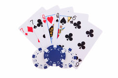 Two-pair with poker chips. Isolated on the white background stock image