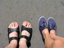 Two pair of summer shoes Stock Photos