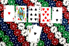Two Pairs. A background of poker hand of 'Two Pairs' on colorful gambling chips Royalty Free Stock Image