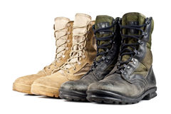 Two pairs of army boots Royalty Free Stock Image