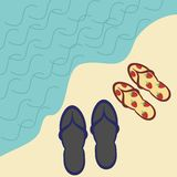 Two pairs of beach sandals Stock Images