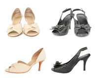 Two pairs of black and beige leather lady shoes Stock Photo