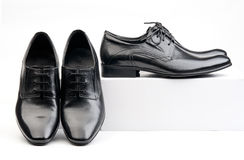 Two pairs of black male classic shoes Royalty Free Stock Image