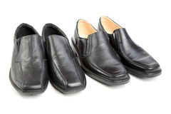 Two pairs black man's a shoe Royalty Free Stock Image