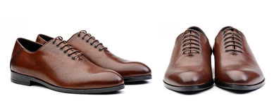 Two pairs of brown male classic shoes Stock Photos