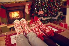 Two pairs of Christmas socks - concept. Two pairs of ornamented Christmas socks - concept Stock Photography