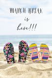 Flip-flops and text march break is here. Two pairs of colorful flip-flops on the sand of a quiet beach with the sea in the background and the text march break is stock photo