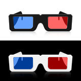 Two pairs 3D glasses Icon. Icon two pairs 3D glasses with reflection on  background Royalty Free Stock Image