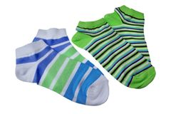 Two Pairs of Different Sport Striped Ladies Socks Stock Photo