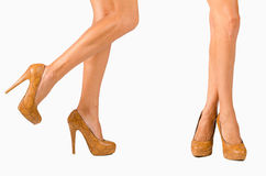 Two pairs of female legs Royalty Free Stock Photography