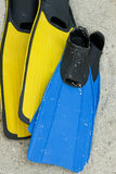 Two Pairs of Fins. Two pairs of snorkeling fins Royalty Free Stock Photos