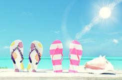 Two pairs of flip-flops and a shell. Against Atlantic. Exuma, Bahamas Stock Images