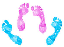 Two pairs of footprints Stock Photo