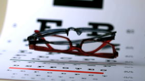 Two pairs of glasses falling onto eye test. In slow motion stock footage