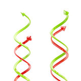 Two pairs of green and red spiral arrows Stock Photo