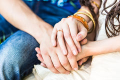 Two pairs of hand touch. Each other Royalty Free Stock Photo