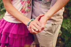Two pairs of hands in love Royalty Free Stock Image