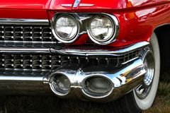 Headlights of a classic car stock image