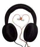 Two pairs of headphones. Black and red headphones. Royalty Free Stock Photography