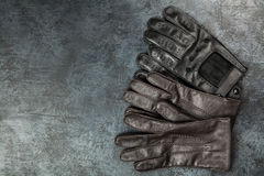 Two pairs of leather gloves Stock Photography