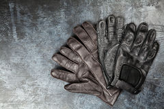 Two pairs of leather gloves Stock Photo