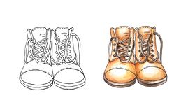 Two pairs of military male or female shoes with a high back and long laces. One in the style outline, other in watercolor style. royalty free illustration