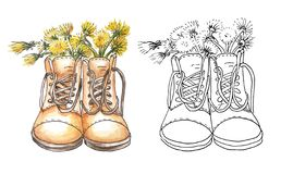 Two pairs of military shoes with a high back like a dandelion flower vase. One in the style outline, other in watercolor style. royalty free illustration