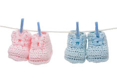 Two Pairs of Retro Baby Booties Stock Image