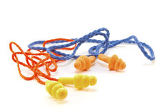Two pairs of rubber earplugs Stock Photo
