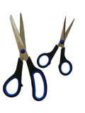 Two pairs scissors. Two pairs sharp scissors with black-dark blue handles Royalty Free Stock Images