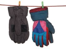 Two pairs of ski gloves. Royalty Free Stock Photography