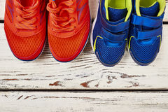 Two pairs of sport shoes. Royalty Free Stock Photo