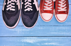 Two pairs of sports sneakers Stock Photos