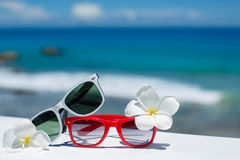 Two pairs of sunglasses on background of ocean Stock Photo