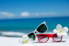 Two pairs of sunglasses on background of ocean Stock Images