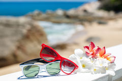 Two pairs of sunglasses on background of ocean Stock Photos