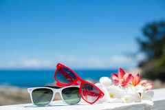 Two pairs of sunglasses on background of ocean Royalty Free Stock Photography