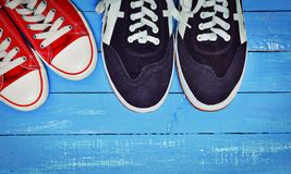 Two pairs of training shoes Stock Photography