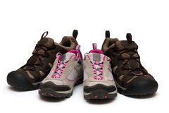 Two pairs of trekking shoes Royalty Free Stock Photo