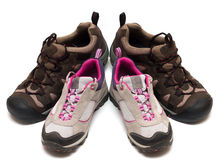 Two pairs of trekking shoes Royalty Free Stock Photography