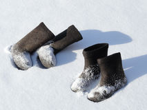 Two pairs of winter footwear Royalty Free Stock Photo