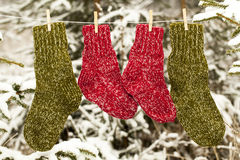 Two pairs of woolen socks Royalty Free Stock Photos