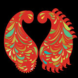 Two Paisley elements, vector illustration Stock Photos