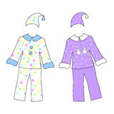 Two pajamas with stars isolated on white. Vector illustration Stock Images