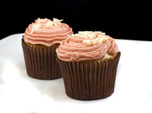 Two pale pink cupcakes Stock Images