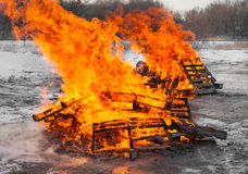 Two Pallet Fires Stock Images