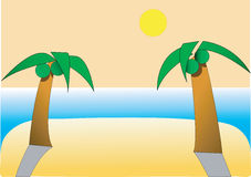 Two Palm Beach. Delightful beach with two palm trees under the sun Royalty Free Stock Photos